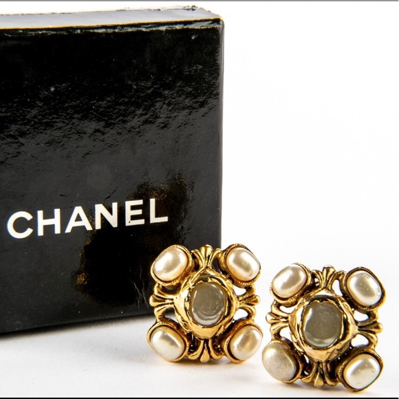 Authentic Chanel faux pearl gold clip on earrings